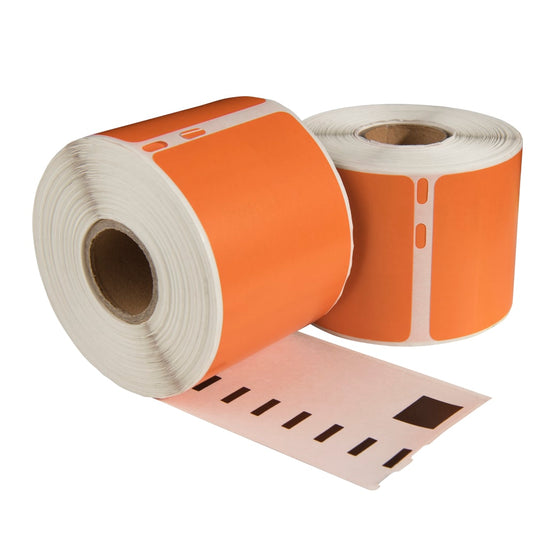 Dymo 99010 oranje compatible labels, 89 mm x 28 mm, 260 etiketten, permanent