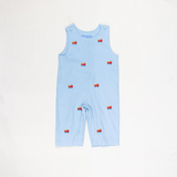 Light Blue Firetruck Embroidered Longalls