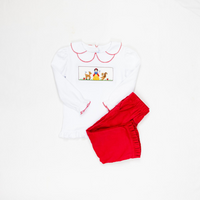 Snow White Smocked Shirt + Red Corduroy Pants
