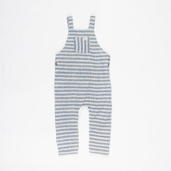 Me & Henry Grey Striped Soft Overalls