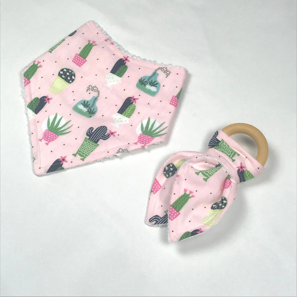 Handmade Drool Bib + Teether Set (multiple prints)