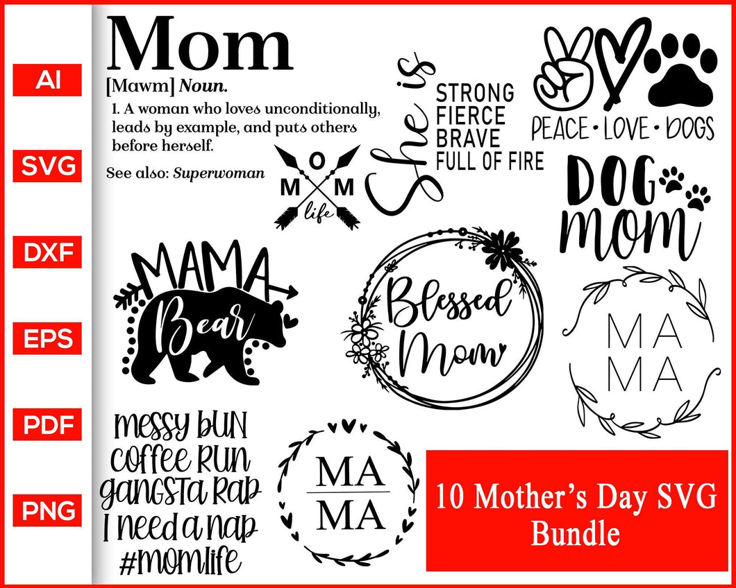 Mother's day quote mama bear dog mom svg cut file silhouette cricut vector clipart print ready editable svg file