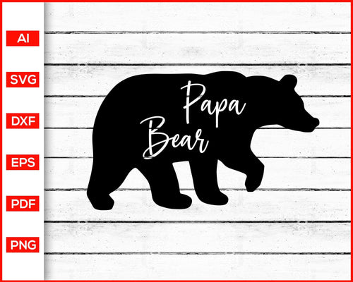 Papa bear svg father's day svg cut file silhouette cricut vector clipart print ready editable svg file