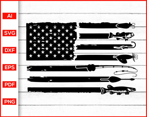 Fishing american flag svg cut file silhouette cricut vector clipart print ready editable svg file