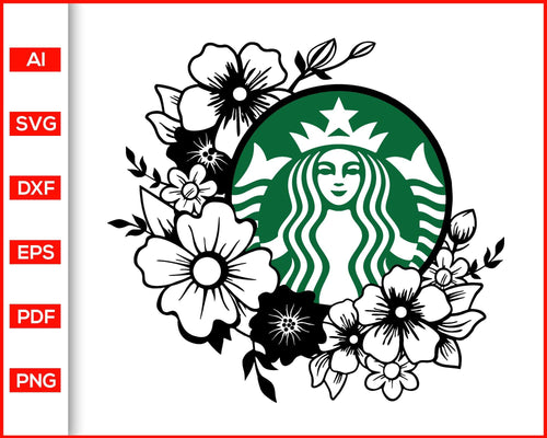 Flower frame starbucks logo for your cup personalized starbucks svg floral starbucks svg cut file for cricut eps png dxf silhouette printable files - Editable SVG File