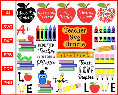Teacher svg bundle teacher quotes first day of school teacher life cut file silhouette cricut vector clipart print ready editable svg file