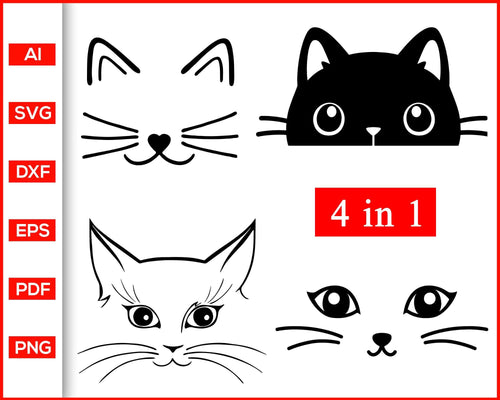 Cat face svg, Cat face clipart, Cat face silhouette, Cat eyes svg, kitty svg, Meow svg, Cat Clipart, cute cat face svg, Kawaii cats, Black cat svg, svg files for cricut, eps, png, dxf, silhouette cameo