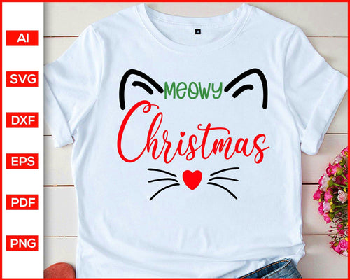 Meowy Christmas svg, Cat Christmas Shirt svg, Meowy Catmas svg, Meowy svg, christmas svg, Cat svg, svg files for cricut, eps, png, dxf, silhouette cameo