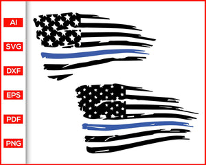 Distressed american flag blue stripe line law enforcement police svg cut file silhouette cricut vector clipart print ready editable svg file
