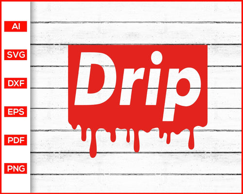 Drip Dripping Red Logo Svg cut file silhouette cricut vector clipart print ready editable svg file