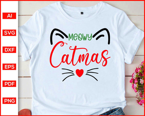 Meowy Catmas svg, Meowy Christmas svg, Cat Christmas Shirt svg, Meowy svg, christmas svg, Cat svg, svg files for cricut, eps, png, dxf, silhouette cameo