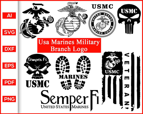USA Marines Military Branch Logo Symbol Coast Guard Svg cut file silhouette cricut vector clipart print ready editable svg file