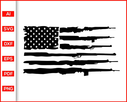 Distressed gun rifles american flag svg cut file silhouette cricut vector clipart print ready editable svg file