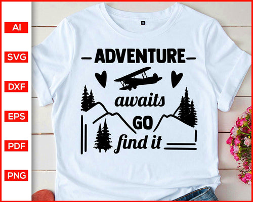 Adventure awaits go find it svg camping quotes svg cut file silhouette cricut vector clipart print ready editable svg file