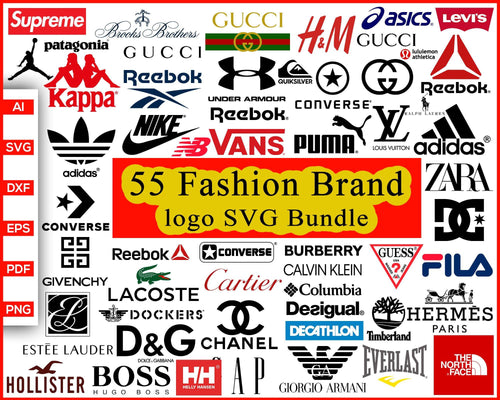 55 Fashion Brand Logo Svg Bundle, Fashion Brand svg, Gucci, Adidas, Nike svg, Converse, Puma logo, Vans, Supreme, Zara, Under Armor, Reebok logo, Kappa, cut file silhouette cricut vector clipart