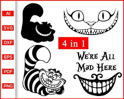 Cheshire cat face disney svg, Cheshire Cat svg, Alice in Wonderland svg, disney cat shirts, Cat svg, Cat face svg, Cat Clipart, Cat Mom svg, svg files for cricut, eps, png, dxf, silhouette cameo