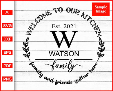 Personalized family kitchen cutting board pot holder monogram svg cut file silhouette cricut vector clipart print ready editable svg file