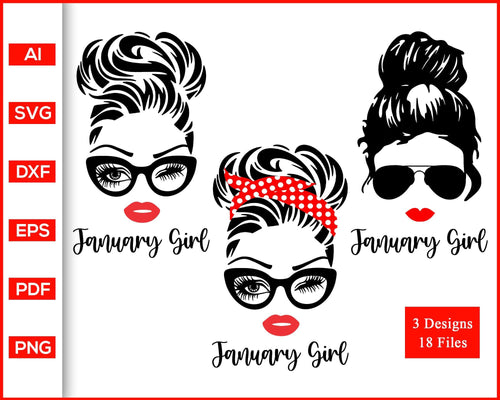 January Girl svg, Woman With Glasses svg, Girl With Bandana svg, Birthday Girl svg, Girl With Messy Bun svg, cut file silhouette cricut