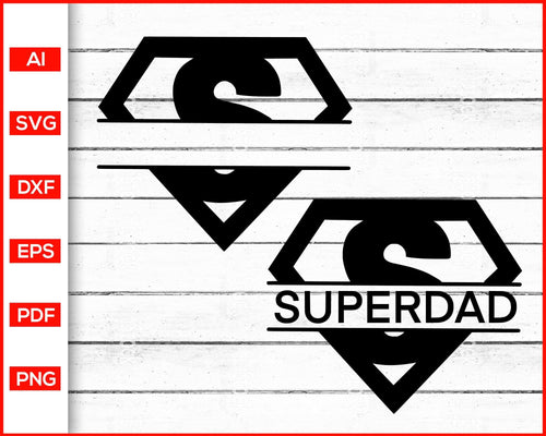 Super dad superman logo svg father's day svg cut file silhouette cricut vector clipart print ready editable svg file