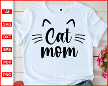 Load image into Gallery viewer, Cat Hug svg, Cat svg, Crazy cat lady svg, Cat face svg, Sleeping kitty svg, Meow svg, Cat Clipart, Kawaii mom, Fur Mom Svg, Cat Mom svg, Fur Mama svg, Cat quotes, svg files for cricut, eps, png, dxf, silhouette cameo
