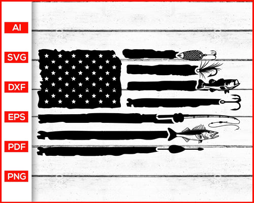 Fishing Distressed American Flag svg cut file silhouette cricut vector clipart print ready editable svg file