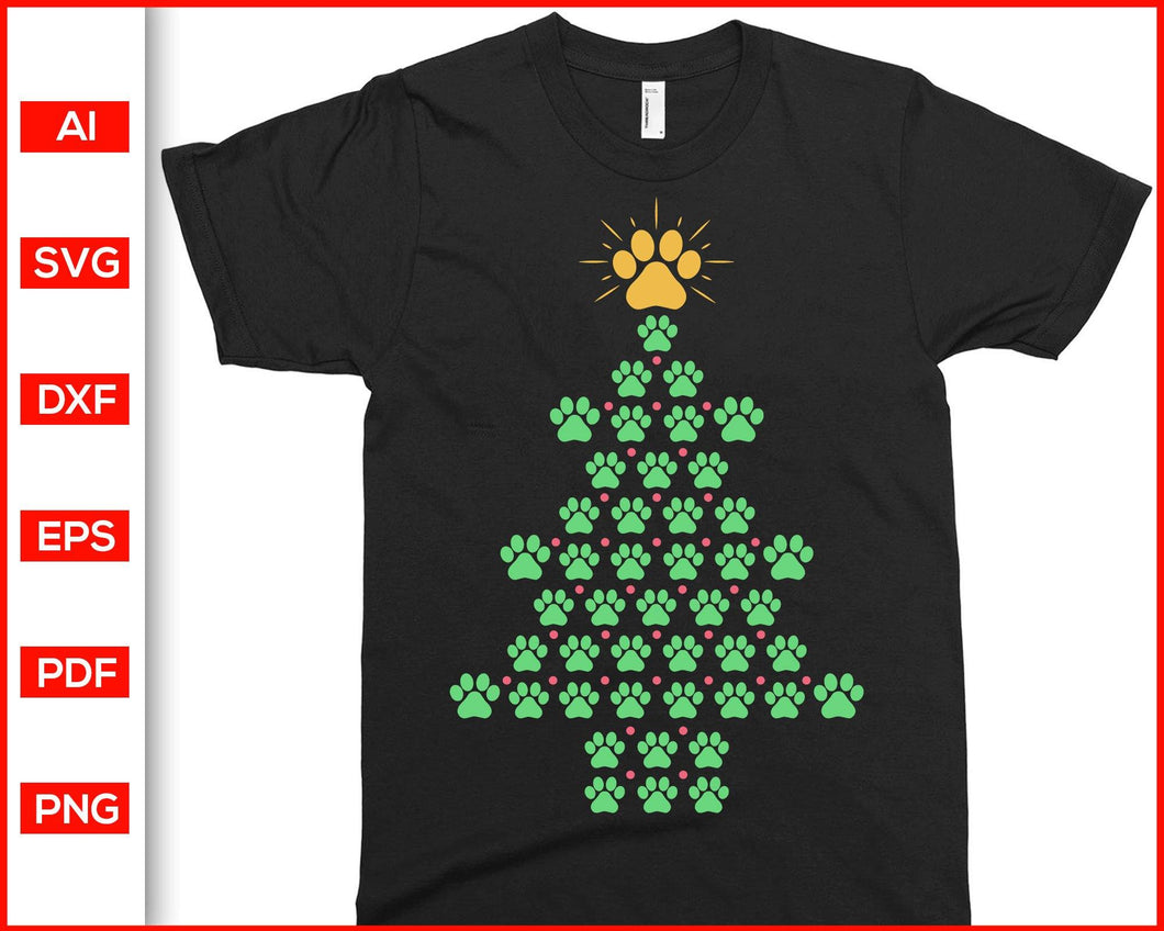 Dog Paws Print Christmas Tree T-shirt Svg, Christmas tree silhouette, Dog paws print svg, Christmas tree svg, Christmas new ideas, svg cutting files for cricut