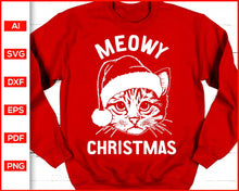 Load image into Gallery viewer, Meowy Christmas Sweater svg, Christmas Sweater svg, Christmas Shirt svg, Meowy Christmas svg, Cat christmas svg, Cat svg, svg files for cricut, eps, png, dxf, silhouette cameo