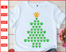 Load image into Gallery viewer, Dog Paws Print Christmas Tree T-shirt Svg, Christmas tree silhouette, Dog paws print svg, Christmas tree svg, Christmas new ideas, svg cutting files for cricut
