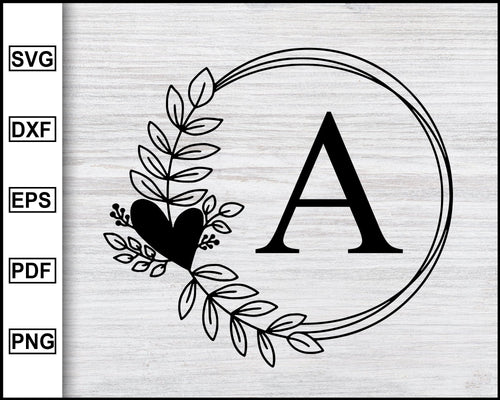 A-Z Floral Letter Frame svg, Wreath svg, Leafy Wreath svg, Monogram Frame svg, Floral Frame, Laurel Wreath Clipart cricut eps png dxf