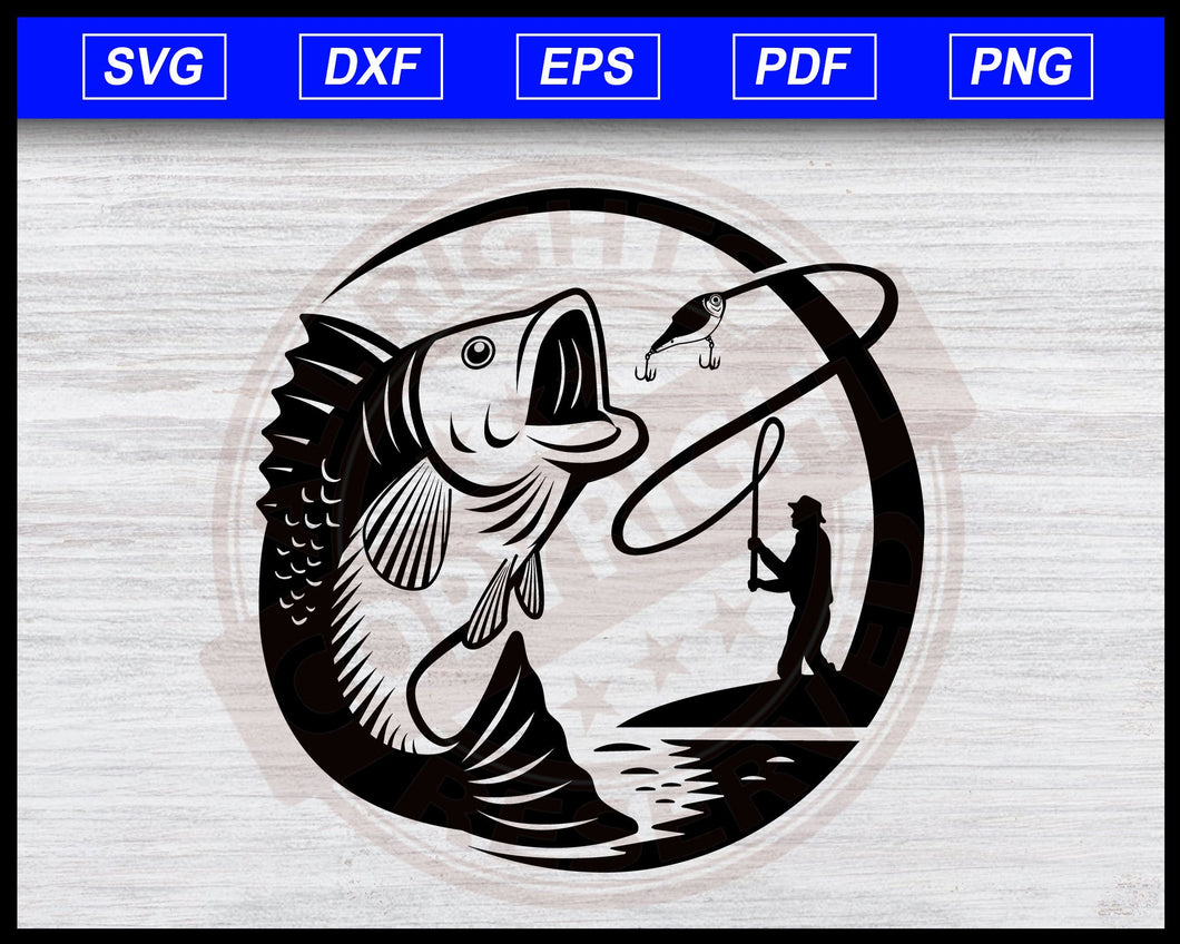 Bass Jumping svg, Angler fishing, Bass Fishing Clipart, Fisherman catching fish svg Instant Download Svg Cricut Cut Files Silhouette