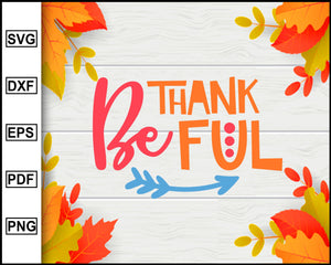 Be Thankful svg, Thanksgiving svg, Fall svg file, Autumn svg, svg cut file, Printable Files