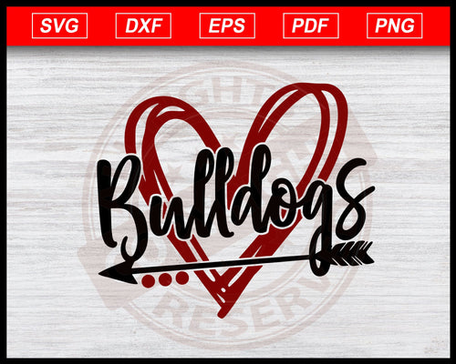 Bulldogs Scribble Heart Svg Bulldogs Svg Football Svg Cut File For Cricut Silhouette eps png dxf Printable Files