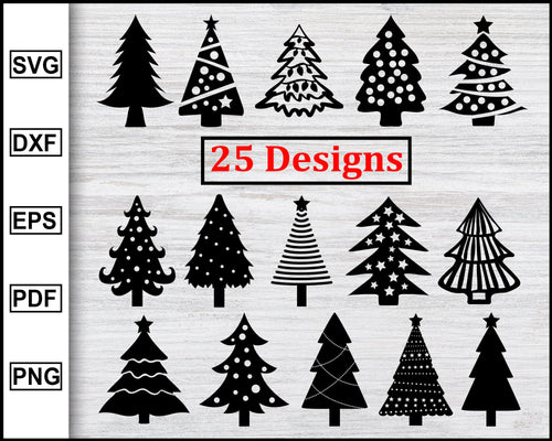 25 Christmas Tree Designs Bundle Svg, Christmas Svg, Christmas Tree Svg, X-mas Svg, Christmas Eve Svg, Christmas 2020 Cricut eps png dxf