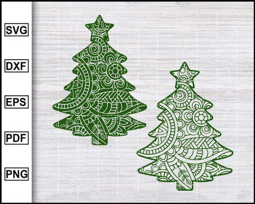 Christmas Svg, Christmas Mandala Svg, Zentangle Svg, Christmas Tree Svg, X-mas Svg Cut File For Cricut eps png dxf Printable Files