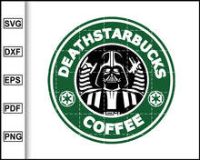 Load image into Gallery viewer, Death Starbucks Coffee Svg, Star Wars Svg, Darth Vader AI, Starbucks Svg, Coffee Svg, Decal Cricut, cut file for cricut eps png dxf silhouette printable files