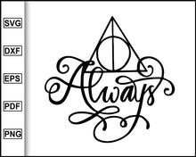 Load image into Gallery viewer, Deathly Hallows Svg, Harry Potter Svg, Deathly Hallows Always svg, Silhouette Cut File for cricut eps png dxf silhouette printable files