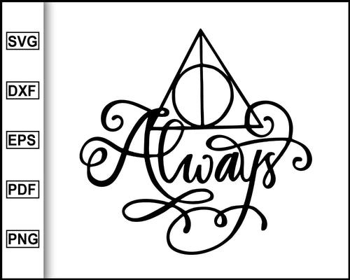 Deathly Hallows Svg, Harry Potter Svg, Deathly Hallows Always svg, Silhouette Cut File for cricut eps png dxf silhouette printable files