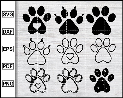 Dog Paw Svg Bundle, Dog Paw Svg, Dog Svg, Paw Svg, Dog Paw Print svg, dog paw clipart, paw clipart, eps png dxf Silhouette Printable Files