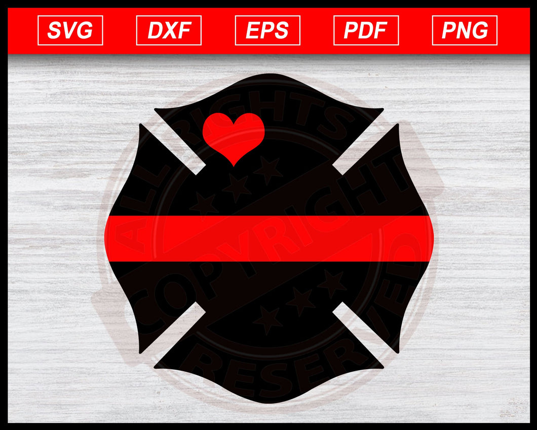 Fire Dept Badge Svg, Fire Department Badge with Heart Svg, Firefighter Svg, Dad Fireman Wife Svg Instant Download Svg Cricut Cut Files Silhouette