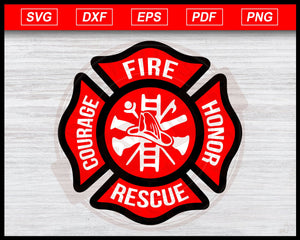 Firefighter Courage Fire Honor Rescue Logo Svg, Firefighter Emblem Clipart, Fire Department Silhouette, Fireman Logo Decal SVG PNG JPG Digital File for Cricut Silhouette Cameo for T-shirts, Decals, Signs, Logos, Cards, Car Decal, Cutting Machine
