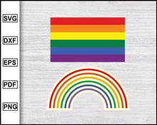 Load image into Gallery viewer, Gay Pride Flag Svg Rainbow Flag Svg Sticker Svg LGBT Svg Lesbian Pride Svg Cut File For Cricut eps png dxf Silhouette Printable Files
