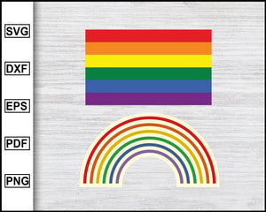 Gay Pride Flag Svg Rainbow Flag Svg Sticker Svg LGBT Svg Lesbian Pride Svg Cut File For Cricut eps png dxf Silhouette Printable Files