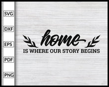 Load image into Gallery viewer, Home Is Where Our Story Begins Svg Inspirational Quotes Svg Family Quotes Svg Cut File For Cricut Silhouette eps png dxf Printable Files