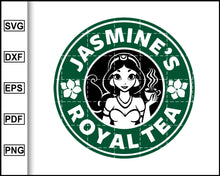 Load image into Gallery viewer, Jasmine's Royal Tea, Princess, Jasmine Svg, Starbucks Svg, Coffee Svg, Decal Cricut, cut file for cricut eps png dxf silhouette printable files