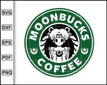 Load image into Gallery viewer, Moonbucks Coffee Svg, Sailor Moon Svg, Starbucks Svg, Coffee Svg, Decal Cricut, cut file for cricut eps png dxf silhouette printable files