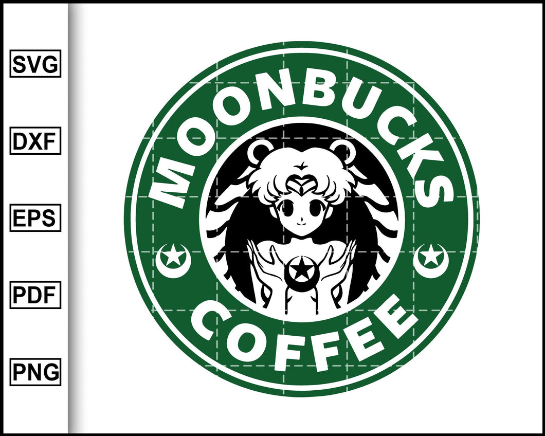 Moonbucks Coffee Svg, Sailor Moon Svg, Starbucks Svg, Coffee Svg, Decal Cricut, cut file for cricut eps png dxf silhouette printable files