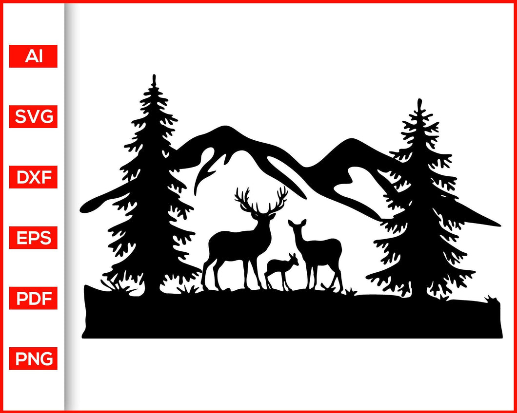Deer svg, Deer Silhouette, Deer Clipart, country nature svg, wood svg, tree svg, Hunting svg, Nature Scene, Mountain Svg, svg files for cricut, eps, png, dxf, silhouette cameo