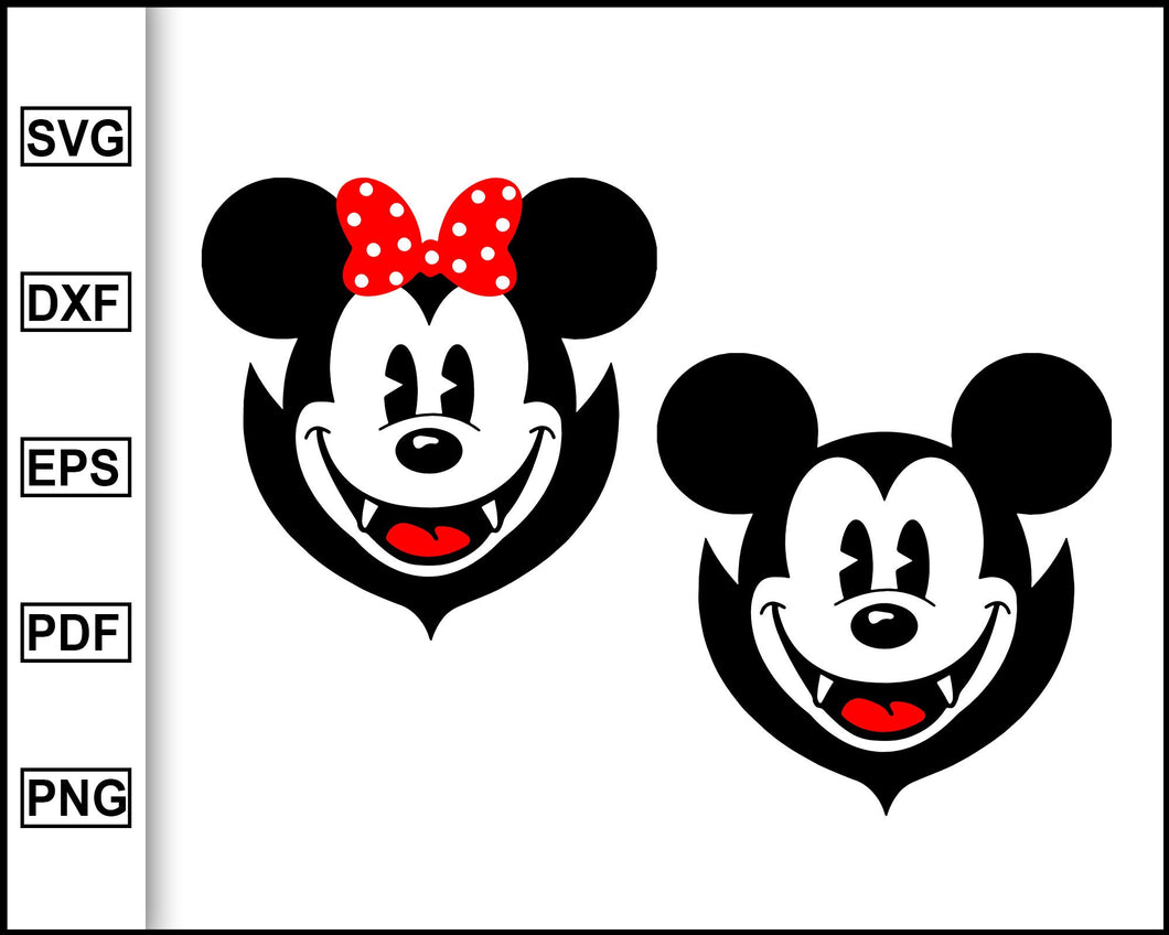 Mickey and Minnie vampires, Disney Halloween, Disney Svg, Halloween SVG PNG Vinyl Cut File, Mickey Mouse Cricut, Silhouette File