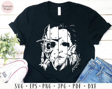 Freddy Jason Michael Myers and Leatherface Squad SVG, Horror Movies Cut files Silhouette, Freddy, Jason, Michael, Thomas, Horror Movie, cut file for cricut eps png dxf silhouette cameo