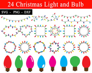 Christmas Light and Bulb Svg Bundles, Christmas Svg files, Svg Christmas Designs, Christmas Lights svg, Svg files for cricut